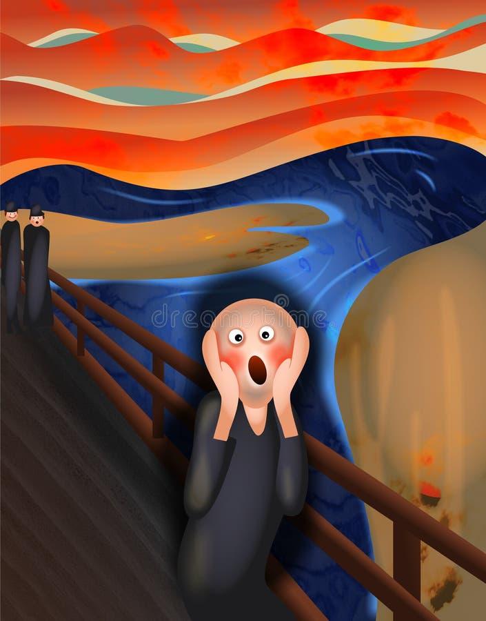 смешной клекот портрета человека screaming иллюстрация штока