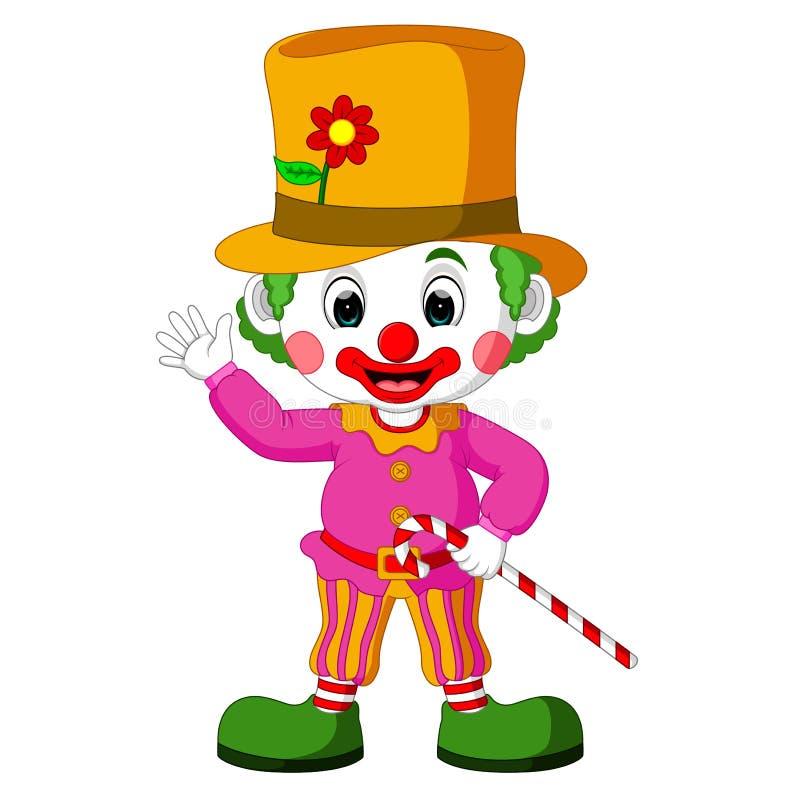 Смешной клоун используя шляпу иллюстрация вектора