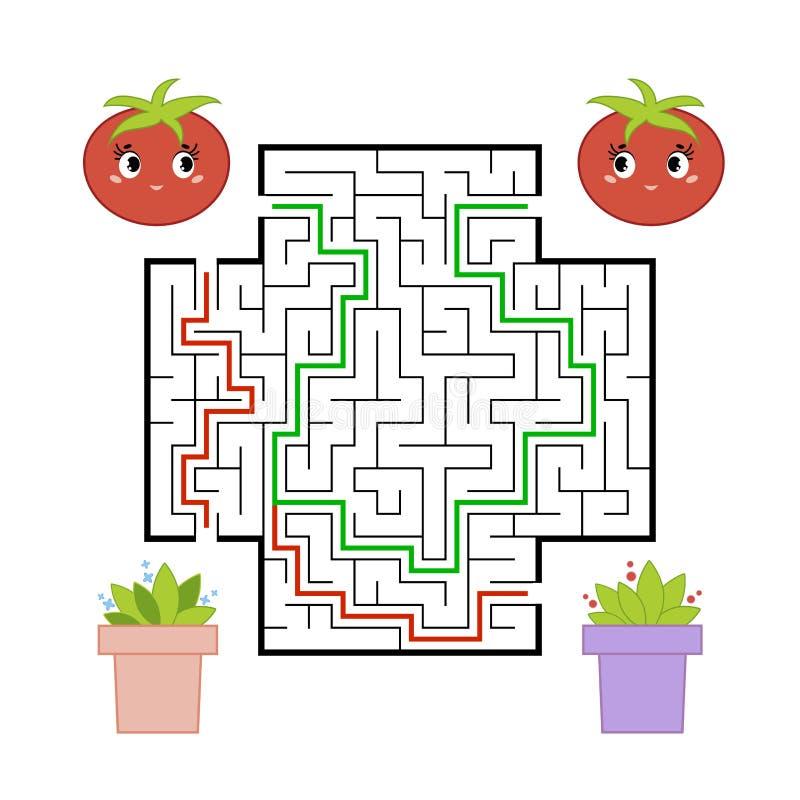 Смешной лабиринт Игра для детей Головоломка для детей Стиль мультфильма Головоломка лабиринта Иллюстрация вектора цвета Развитие  иллюстрация штока