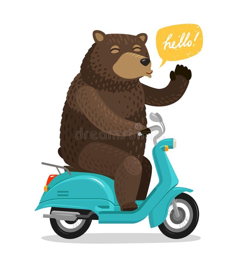 Смешной медведь ехать самокат Концепция цирка alien кот шаржа избегает вектор крыши иллюстрации иллюстрация вектора