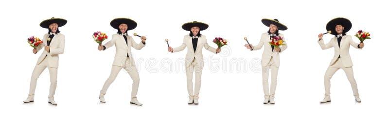 Смешной мексиканец в костюме держа цветки изолированный на белизне стоковое изображение rf