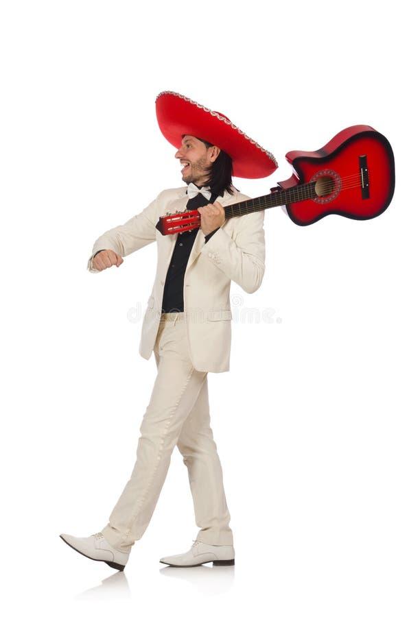 Смешной мексиканец в костюме держа гитару изолированный стоковая фотография