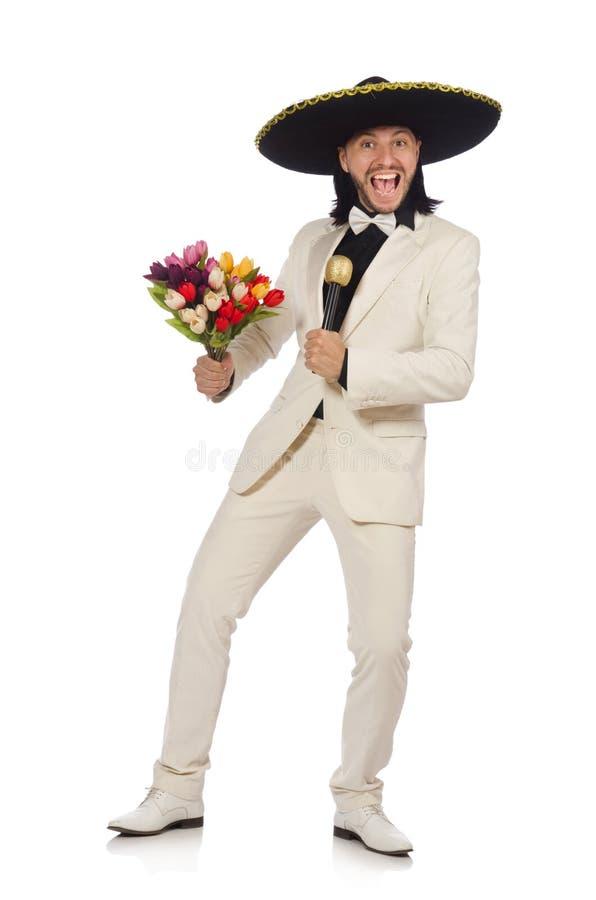 Смешной мексиканец в костюме держа цветки изолированный дальше стоковое изображение