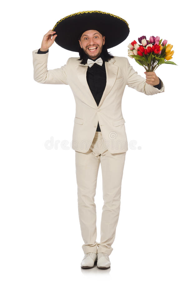 Смешной мексиканец в костюме держа цветки стоковая фотография