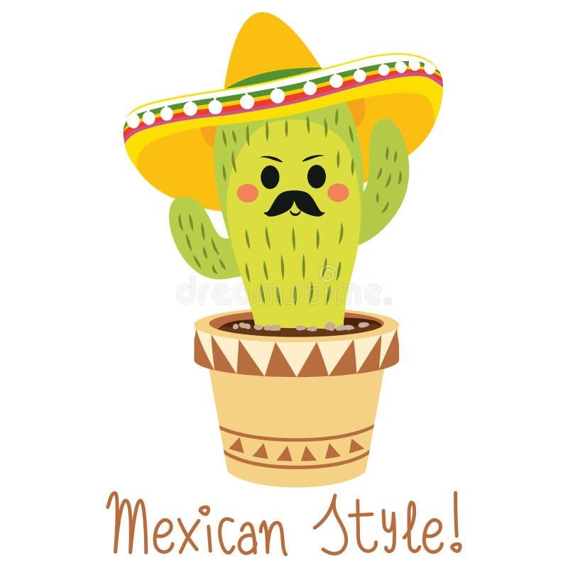 Смешной мексиканский кактус иллюстрация штока