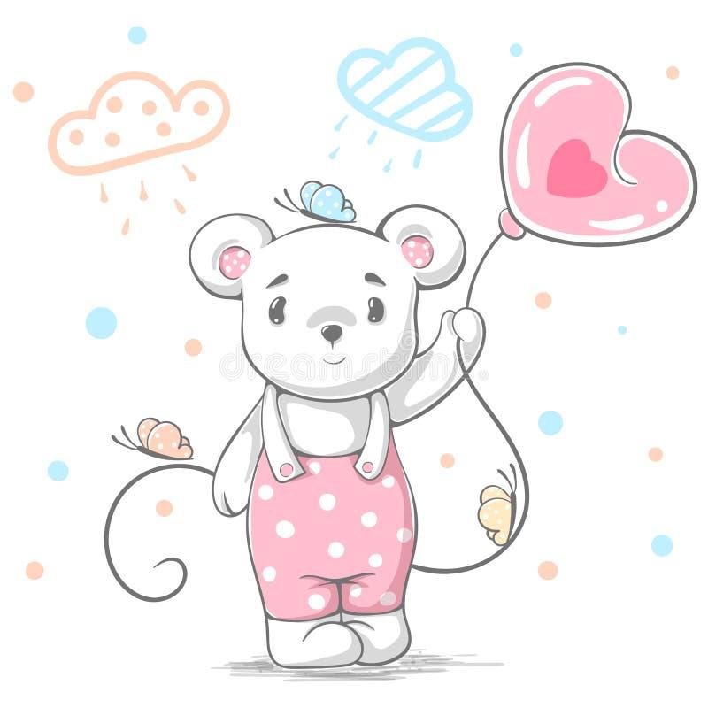 Смешной, милый плюшевый медвежонок - иллюстрация шаржа иллюстрация штока