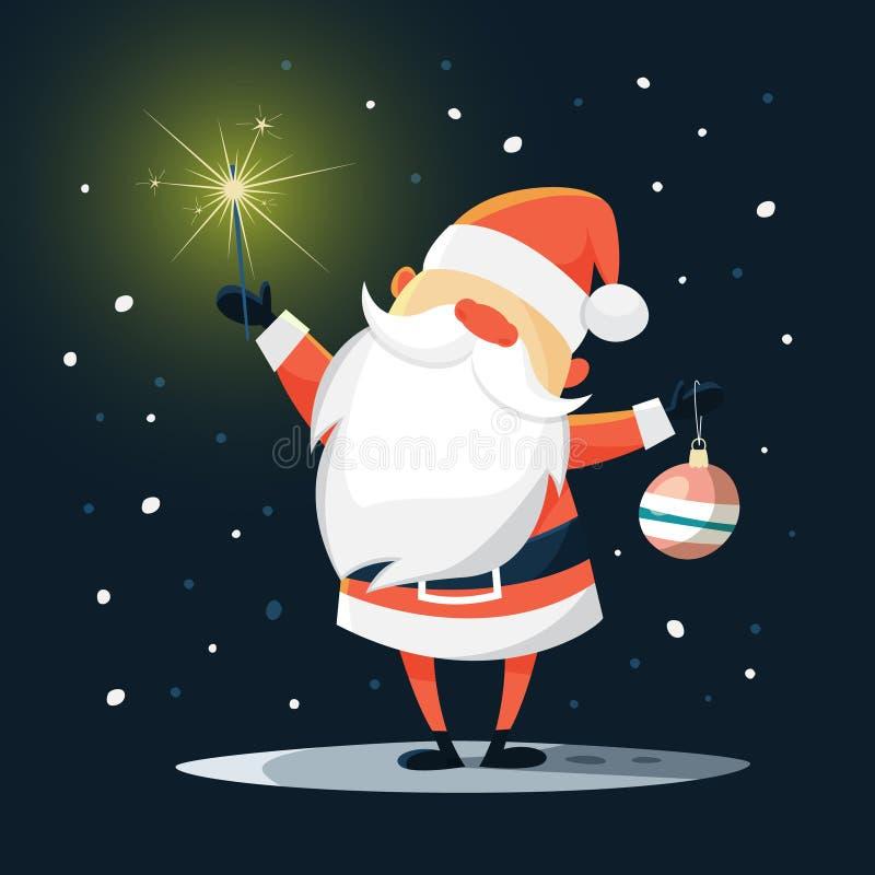 Смешной милый Санта Клаус с шариком рождества бесплатная иллюстрация