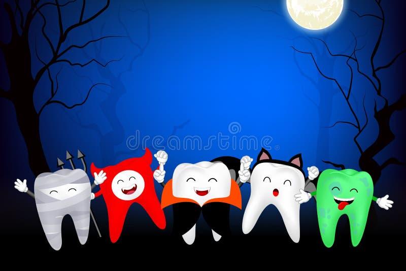 Смешной милый характер зуба шаржа Мумия, дьявол, Дракула, летучая мышь и зомби в ноче луны иллюстрация вектора