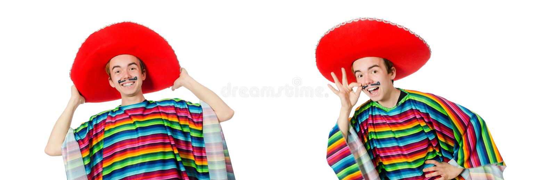 Смешной молодой мексиканец при ложный усик изолированный на белизне стоковые изображения