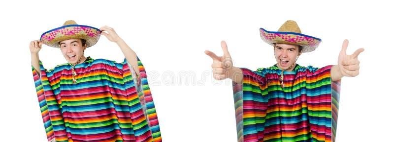 Смешной молодой мексиканец при ложный усик изолированный на белизне стоковое фото rf