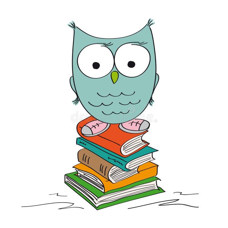 Смешной мудрый сыч стоя на куче книг нося ботинки иллюстрация вектора