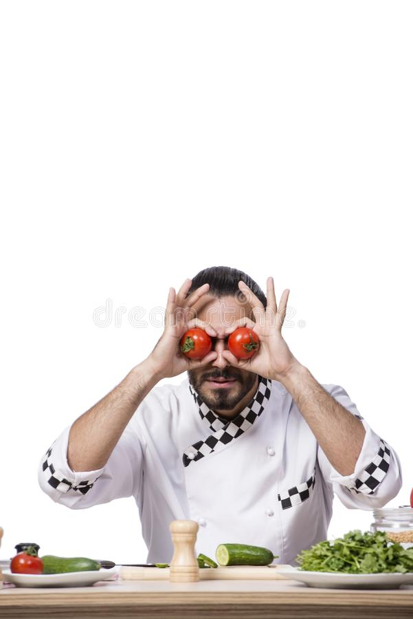 Смешной мужской кашевар изолированный на белой предпосылке стоковое фото rf
