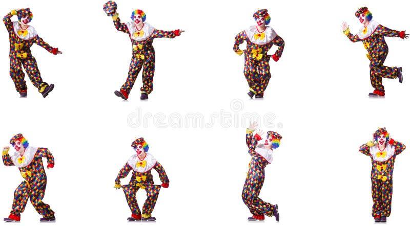 Смешной мужской клоун изолированный на белизне стоковое изображение rf