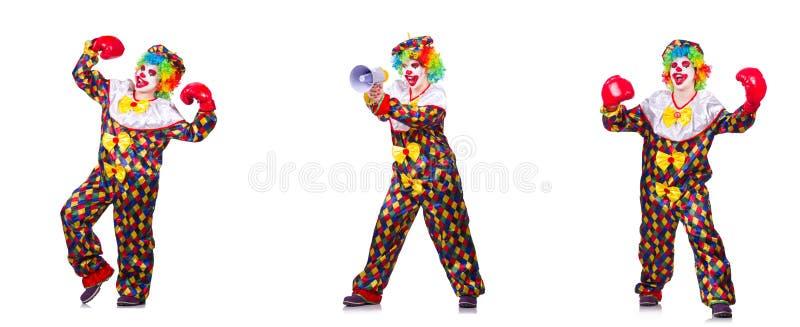 Смешной мужской клоун с перчатками и громкоговорителем бокса стоковое изображение rf