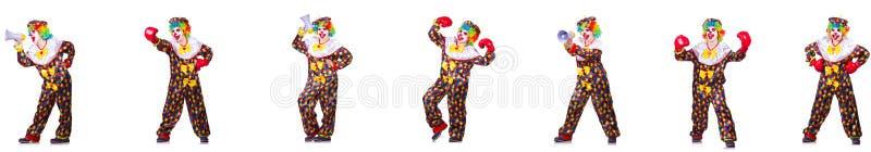 Смешной мужской клоун с перчатками и громкоговорителем бокса стоковое фото rf