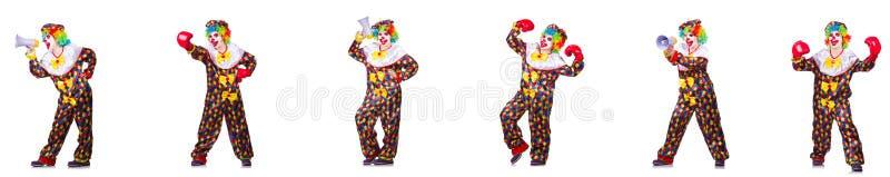 Смешной мужской клоун с перчатками и громкоговорителем бокса стоковые изображения rf
