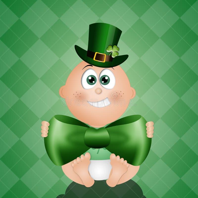 Смешной младенец с зеленой шляпой для St. Patrick иллюстрация вектора