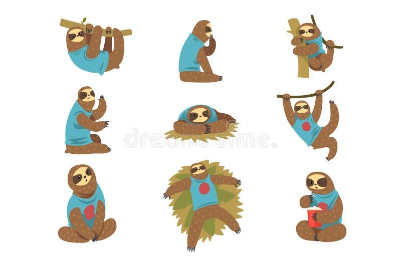 Смешной набор леней, характер ленивого экзотического тропического леса животный в различных иллюстрациях вектора позиций на белиз бесплатная иллюстрация