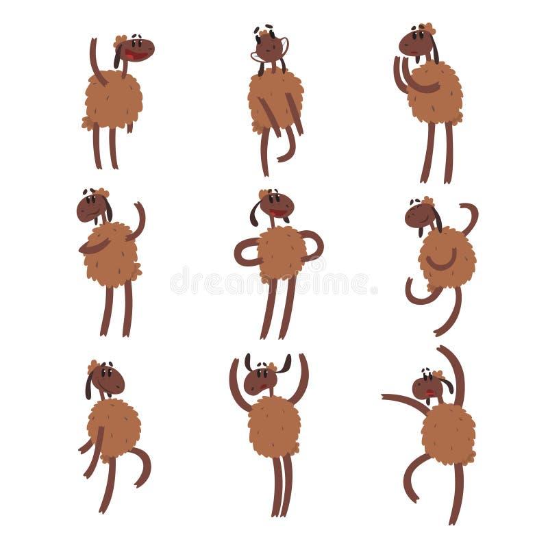 Смешной набор символов овец шаржа, коричневая овца с иллюстрациями вектора различных эмоций красочными иллюстрация штока
