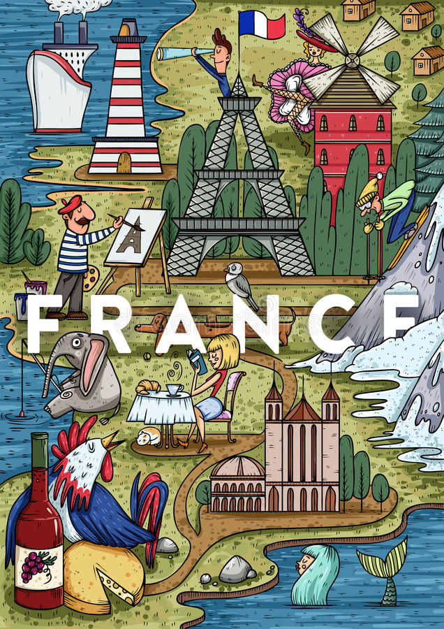 Смешной нарисованная рукой карта Франции шаржа с большинств популярными местами интереса стоковые фотографии rf