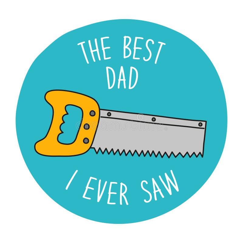 Смешной нарисованная рукой поздравительная открытка дня ` s отца иллюстрация штока
