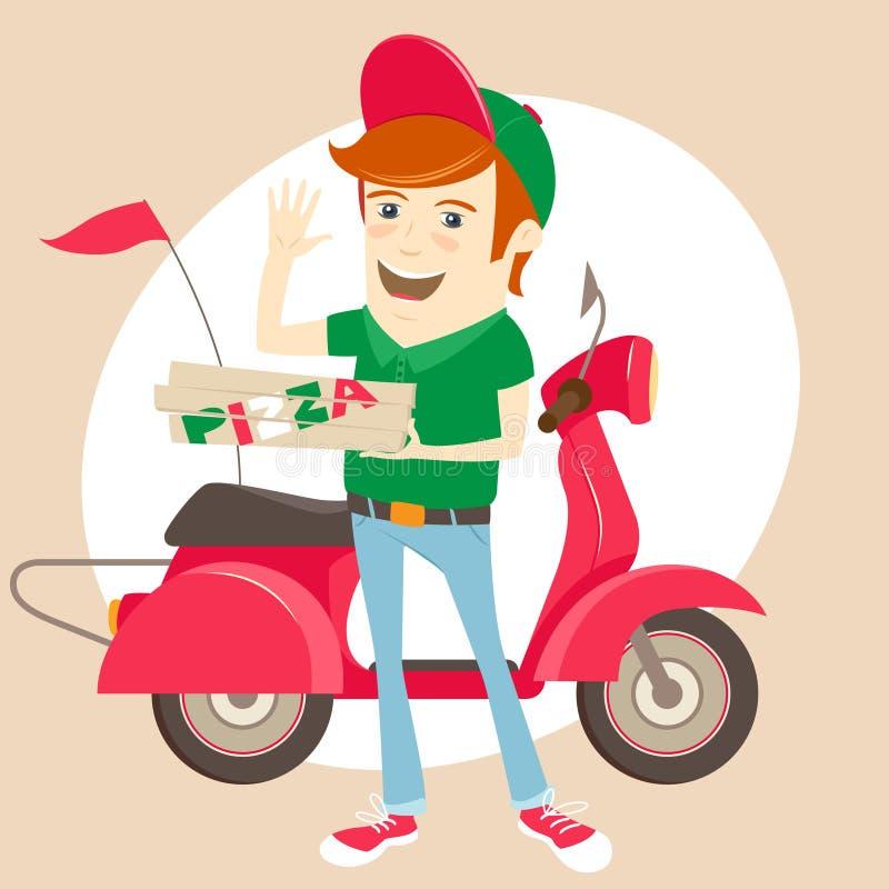 Смешной носильщик мелких грузов пиццы перед unif красного велосипеда мотора нося иллюстрация штока