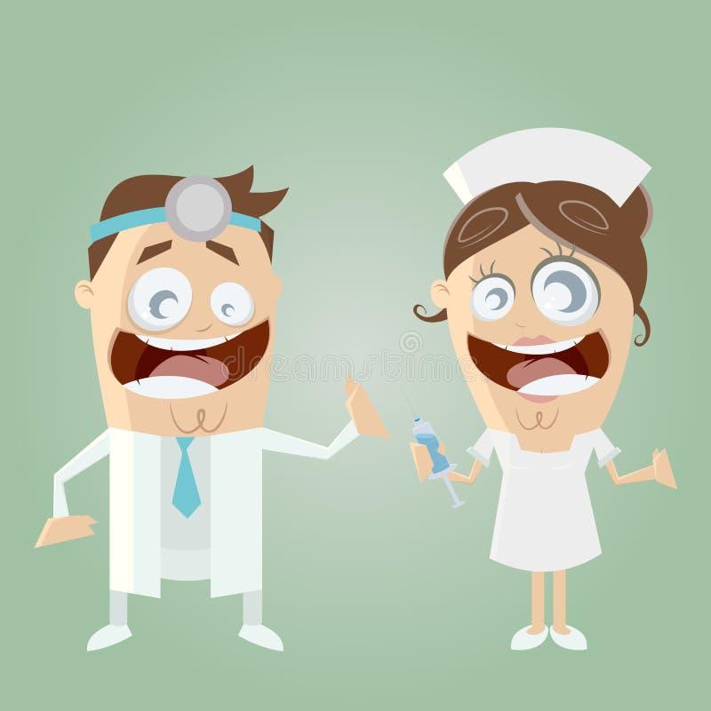 Смешной доктор и медсестра шаржа бесплатная иллюстрация