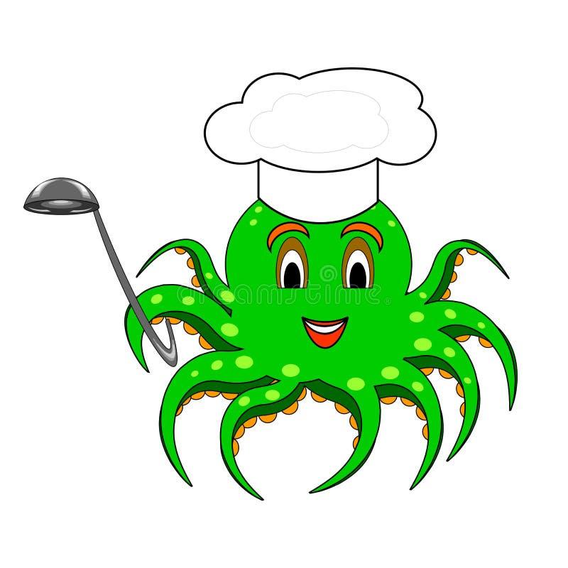 Смешной осьминог шаржа с шляпой шеф-повара и супом иллюстрация штока