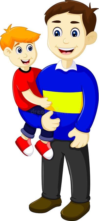 Смешной отец шаржа держа его сына иллюстрация вектора