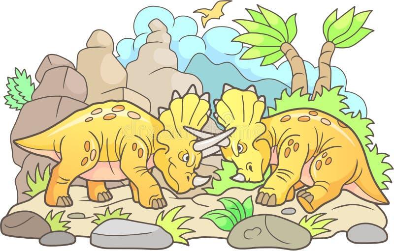 Смешной один другого боя динозавров иллюстрация штока