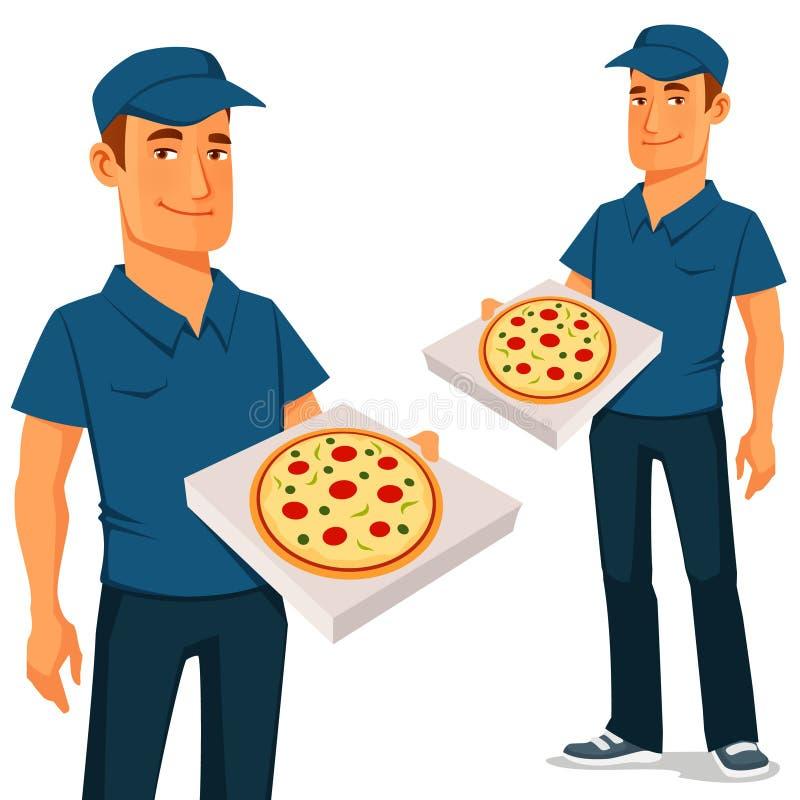 Смешной парень поставки пиццы шаржа иллюстрация штока
