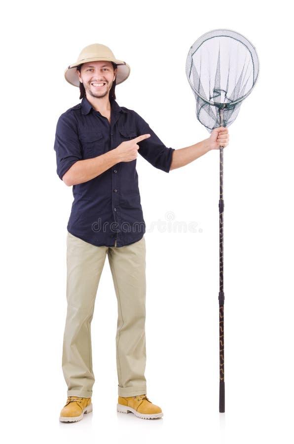 Смешной парень с заразительной сетью стоковое фото