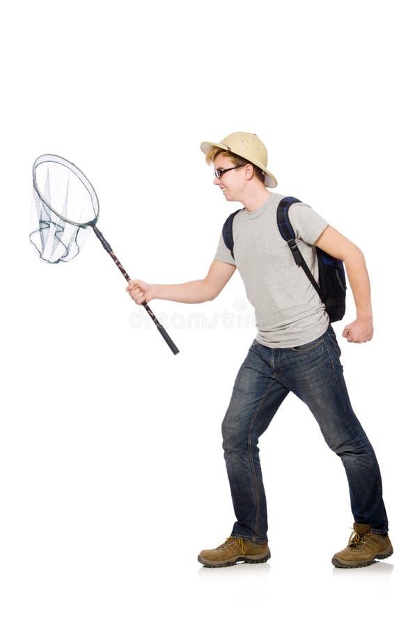 Смешной парень с заразительной сетью стоковая фотография rf