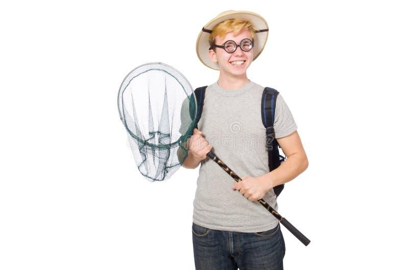 Смешной парень с заразительной сетью стоковое изображение
