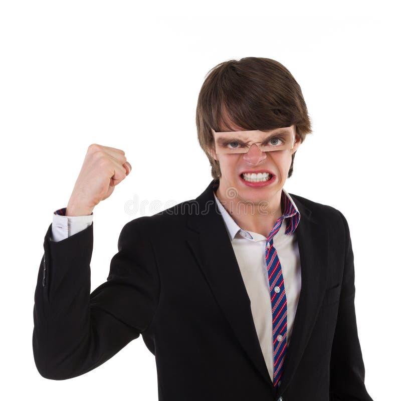 Смешной парень тряся его кулак стоковые фотографии rf