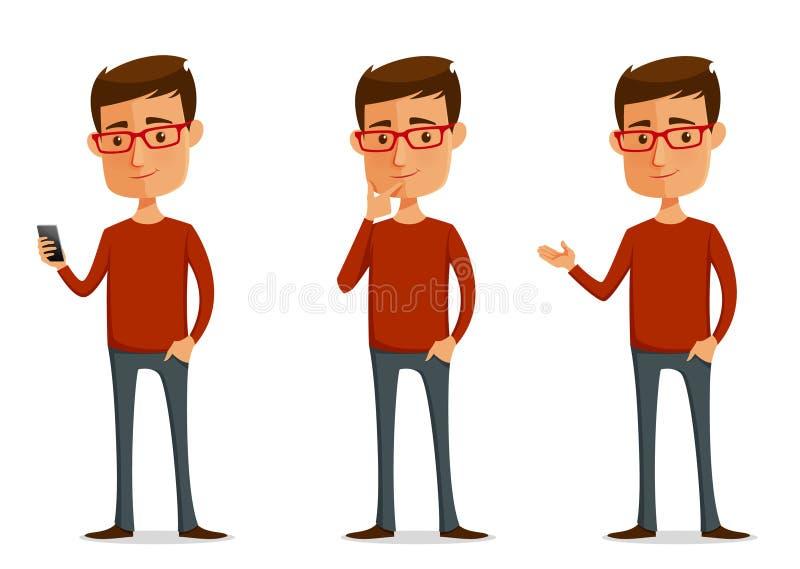 Смешной парень шаржа с стеклами бесплатная иллюстрация