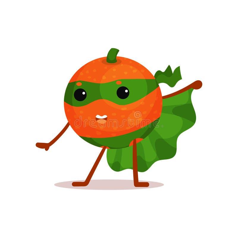 Смешной персонаж из мультфильма апельсина супергероя с зеленой накидкой и маски в действии иллюстрация штока
