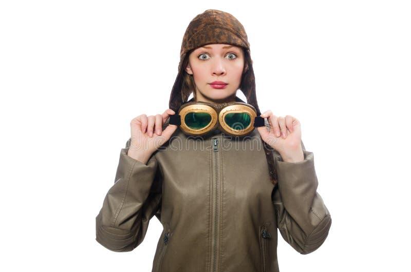 Смешной пилот женщины изолированный на белизне стоковые изображения rf