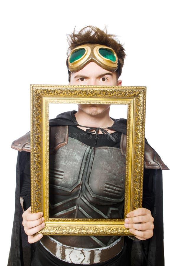 Смешной пилот при изолированная картинная рамка стоковые фото
