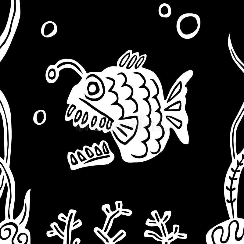 Смешной плотоядный захватнический глубоко укоренившийся рыболов рыб также вектор иллюстрации притяжки corel иллюстрация вектора