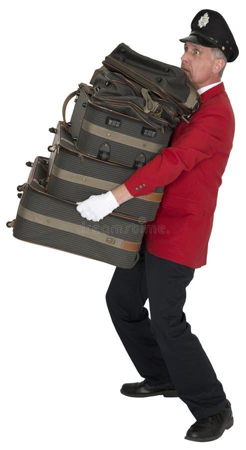 Смешной портер, носильщик багажа, швейцар, изолированный работник гостиницы, стоковые изображения