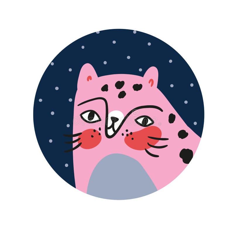 Смешной портрет кота в круглой рамке изолированной на белой предпосылке Иллюстрация для дизайна плаката питомника, дети вектора п иллюстрация штока