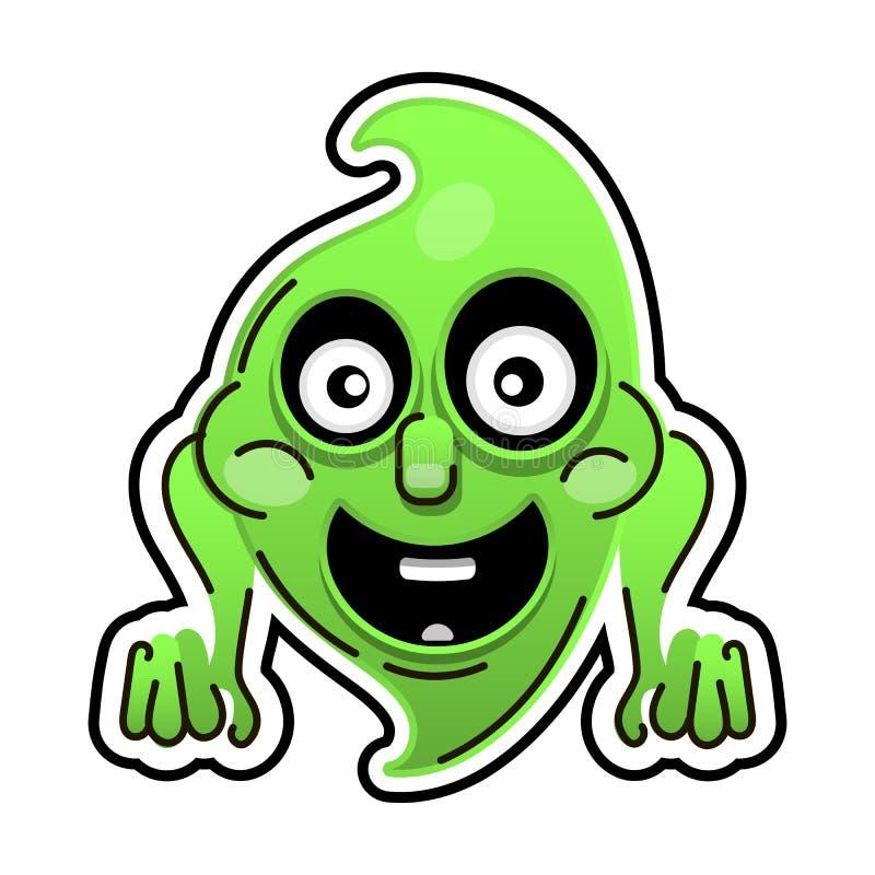 Смешной призрак шаржа на белой предпосылке halloween счастливый иллюстрация вектора