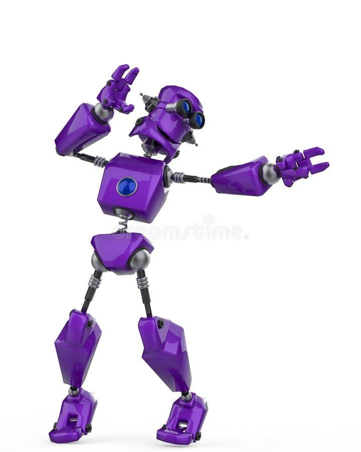 Смешной пурпурный прибой воздуха мультфильма робота в белой предпосылке иллюстрация вектора