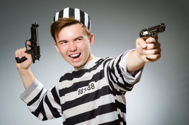 Смешной пленник в концепции тюрьмы стоковое изображение
