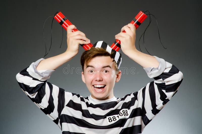 Смешной пленник в концепции тюрьмы стоковое фото
