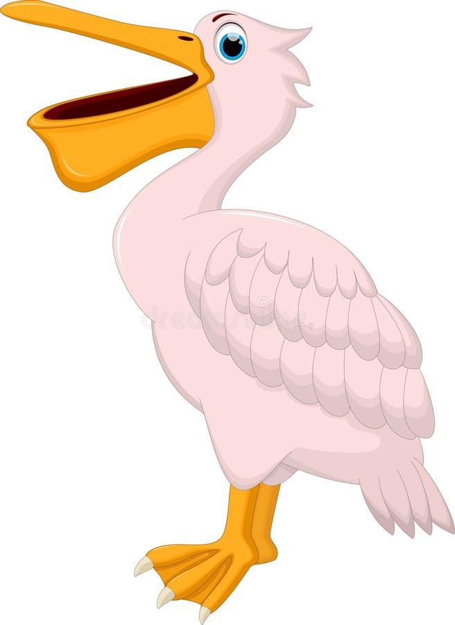 Смешной развевать пеликана шаржа изолированный на белой предпосылке бесплатная иллюстрация
