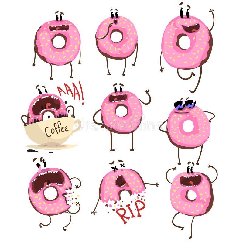 Смешной розовый персонаж из мультфильма донута набор, милый донут с различными эмоциями vector иллюстрации иллюстрация вектора