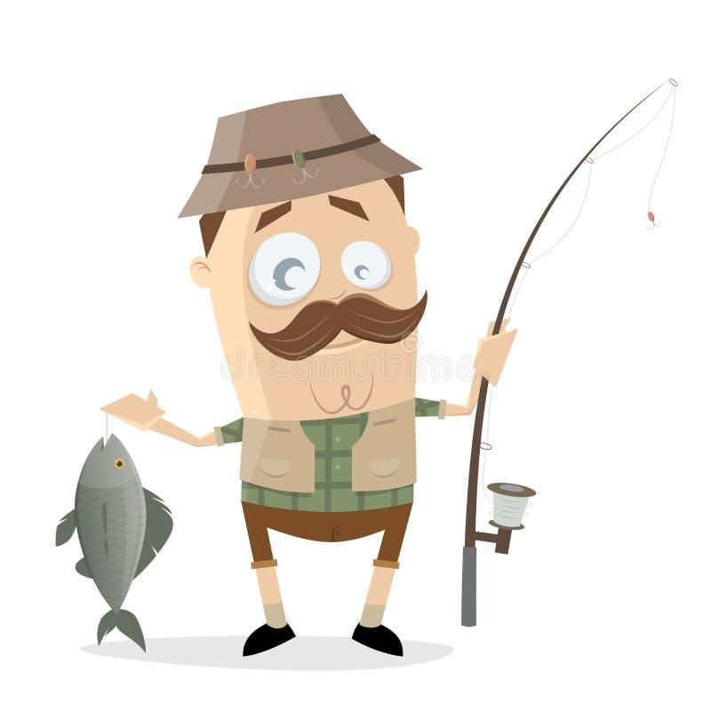 Смешной рыболов шаржа с большими рыбами и рыболовной удочкой иллюстрация штока