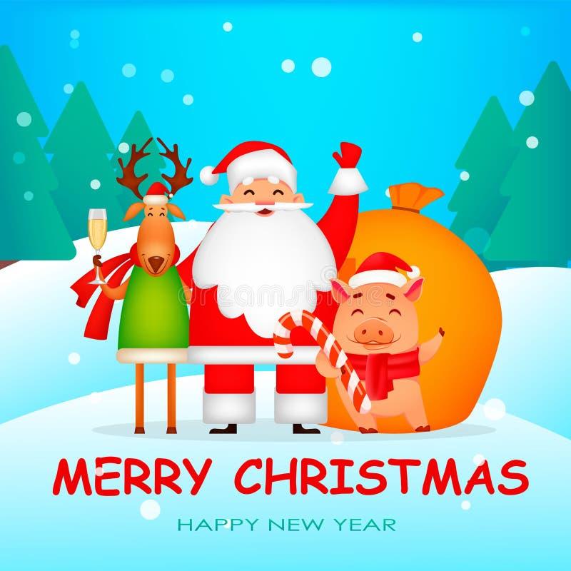 Смешной Санта Клаус, свинья и олени бесплатная иллюстрация